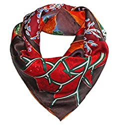 Olina Women's High-Grade Elegant 100% Luxury Square Silk Scarf Shawl (SS014)