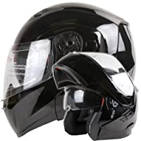 Dual Visor Modular Flip up Gloss Black Motorcycle Snowmobile Helmet DOT (L) by Ivolution Sports, Inc