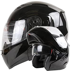 Dual Visor Modular Flip up Gloss Black Motorcycle Snowmobile Helmet DOT (S) from Ivolution Sports, Inc