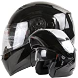 Dual Visor Modular Flip up Gloss Black Motorcycle Snowmobile Helmet DOT (XL)