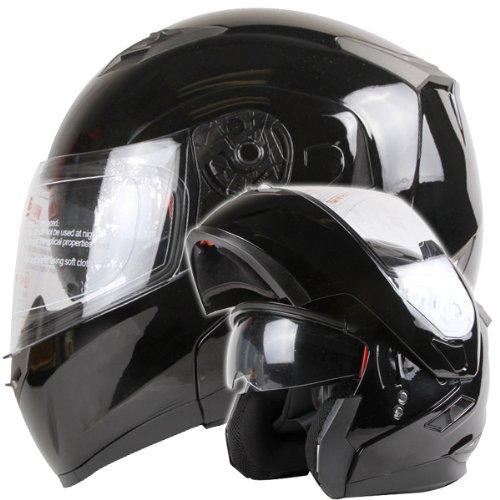 Dual Visor Modular Flip up Gloss Black Motorcycle Snowmobile Helmet DOT (XL)