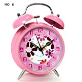 "HITO™ 4"" Silent Quartz Analog Twin Bell Alarm Clock with Nightlight and Loud Alarm (NO6)"