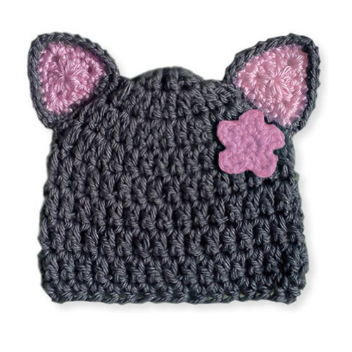 Melondipity Girls Miss Kitty Crochet Baby Hat - Gray Cat Beanie, Pink Ears & Flower