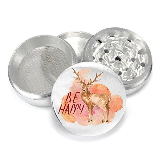Watercolor-Deer-be-happy-UV-PrintDesign-4-Piece-Aluminum-Medicinal-Herb-Tobacco-Spice-Grinder-Crusher-PGR093