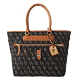 Dooney and Bourke Shadow DB Pocket Tote, Black/Black/GoldW/Na Trim, Bags Central