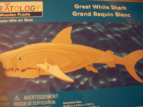 Creatology Wooden Puzzle ~ Great White Shark (2 Sheets, 2 Eyes)