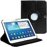 Cover per Samsung Galaxy Tab 3 10.1 (P5200 P5210)- Nero Cover in Ecopelle con Meccanismo di Rotazione di 360° per Posizionamento Verticale ed Orizzontale del Tablet. Pellicola di Protezione per Schermo e Pennina per Touch Screen Incluse Gratuitamente da Stuff4® ***NON ADATTA PER GALAXY TAB 2 10.1 O GALAXY NOTE***