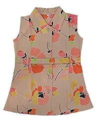 RANGREJA Hawain Floral Dress for Girls beige