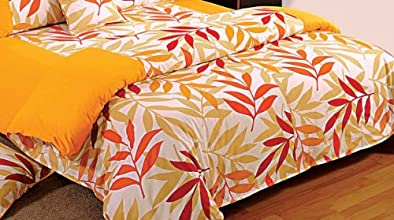 Swayam Printed Cotton Double Comforter - Yellow