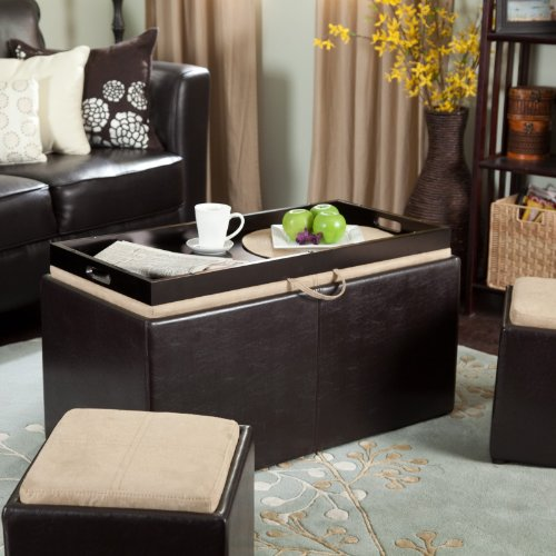 Garrett Coffee Table Storage Ottoman with Tray & Side Ottomans Size - 14L x 14W x 14H in. (Small)