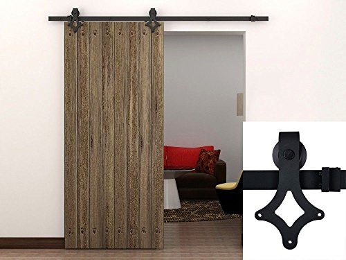 TMS® 6 Ft Black American Country Style Barn Wood Sliding Door Hardware Track Set New