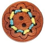 木のボタン 25mm カラフルなウッドボタン (直径2.5cm)ブラウン