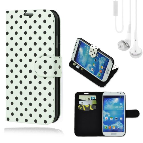 Spot Dot Pu Leather Case Wallet Stand Flip Cover For Samsung Galaxy S4 (White) + White Vangoddy Headset With Mic