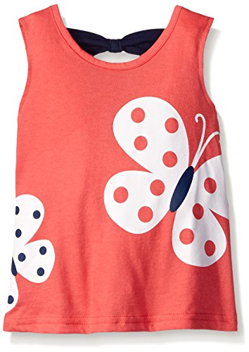 Gerber Graduates Girls Sleeveless Top with Bow Back, Pink Butterflies, 24 Months