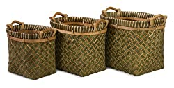 Set of 3 Green Egyptian Crossweave Baskets with Wood Handles