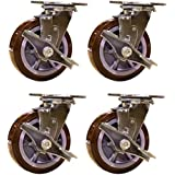 "6"" Heavy Duty Swivel Casters with Brakes - Non-marking Polyurethane Wheel - Set of 4"
