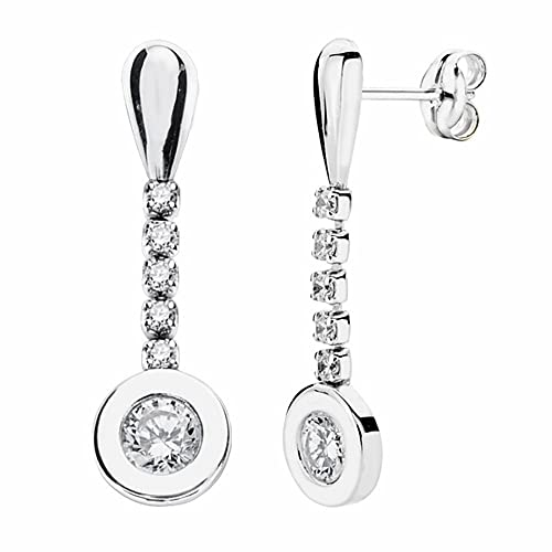 18k white gold earrings 25mm long zircons. [AA2074]