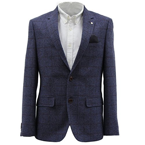 Mens-Harry-Brown-Blue-Grey-Blue-Check-Brown-Check-Wool-Blend-Blazer-38-to-54