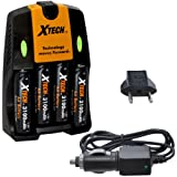 Xtech 4 AA Ultra High Capacity 3100mah Rechargeable Batteries with AC/DC Travel Turbo Quick Charger for Canon PowerShot A10, A20, A40, A60, A70, A75, A80, A85, A95, A100, A200, A300, A310, A400, A410, A420, A430, A460, A470, A480, A490, A495, A510, A520, A530, A540, A550, A560, A570 IS, A580, A590 IS, A610, A620, A630, A640, A650 IS, A700, A710 IS, A720 IS, A800, A810, A1000 IS, A1100 IS, A1200, A1300, A1400, A2000 IS, A2100 IS, E1, S2 IS, S3 IS, S5 IS, SX1 IS, SX10 IS, SX20 IS, SX100 IS, SX100 IS, SX110 IS, SX120 IS, SX130 IS, SX150 IS, & SX160 IS Digital Cameras