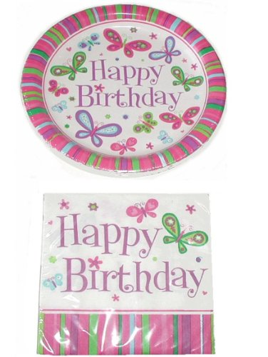 Happy Birthday Butterfly Theme Party Pack - 18 Plates & 20 Napkins St3