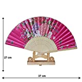 Valentines Special - Chinese Hand Fan / Home Decor / Hand fan with stand - Gift Item - Pink