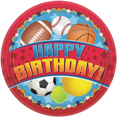 Hanna K. Signature Collection 18 Count Birthday Sports Paper Plate, 10.25-Inch