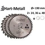 3 tlg Set Kreissägeblatt Hartmetall 190 x 30 mm 24 Z + 36Z + 48Z