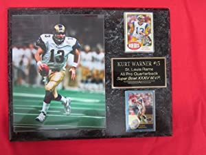 Kurt Warner St Louis Rams 2 Card Collector Plaque w 8x10 Color photo by J & C Baseball Clubhouse