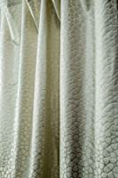 Mystique Ivory embossed heavy satin faux silk curtain panel