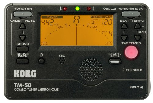 Korg TM50BK Instrument Tuner and Metronome, Black (Digital Tuner Guitar compare prices)