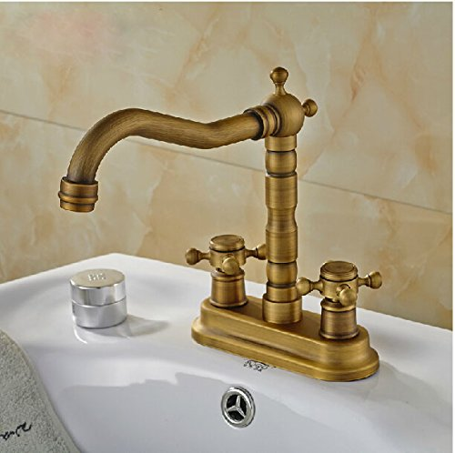 Rozinsanitary 4 Inch Centerset Antique Brass Bathroom Sink Faucet
