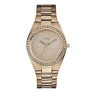 Guess W12651L1 - Reloj analógico de cuarzo para mujer con correa de acero inoxidable bañado