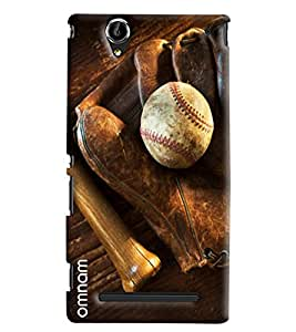 Omnam Leather White Ball With Gloves Printed Designer Back Cover Case For Sony Xperia T2 Ultra