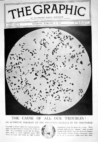 1925 Portrait Influenza Bacillus Microscope Delhi Soldiers War Kiss Sculpture