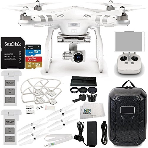 DJI Phantom 3 Advanced Quadcopter w/ 1080p HD Video Camera & Manufacturer Accessories + DJI Flight Battery + Water-Resistant Hardshell Backpack + 7PC Filter Kit (UV-CPL-ND2-400-Hood-Stabilizer) + MORE
