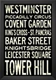 Professionally Framed London Underground Vintage Stations Travel Poster - 13x19 with Solid Black Wood Frame