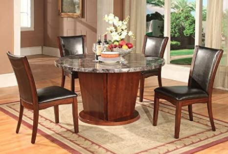 Roundhill Furniture Rintina 5-Piece Round Artificial Marble Dining Set, Espresso Finish