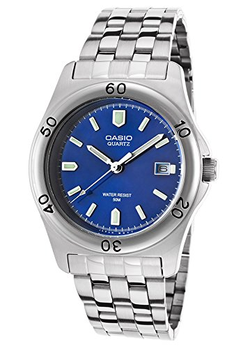 Casio Men's Silver-Tone Steel Blue Dial