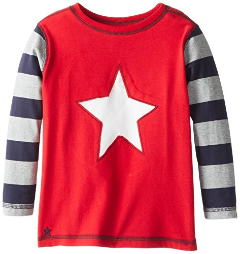 Hatley Little Boys' Long Sleeve Graphic Tee - Bright Star, Red, 4 front-793955