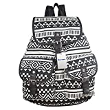 BESTOPE® High Quality & Brand New Vintage Retro Floral Ladies Canvas Bag /School Bag/Backpack (Black and White)