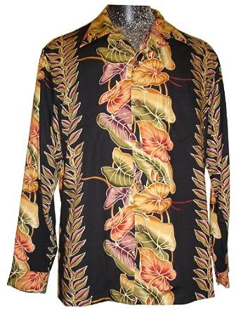 Kamehameha Mens Anthurium Panel Long Sleeve Shirt Black XL