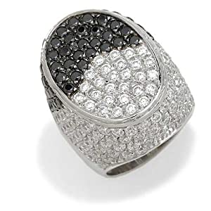 Gioie Women's Ring in White 18k Gold with White Cubic Zirconia and Black Cubic Zirconia, Size 8.5, 25 Grams