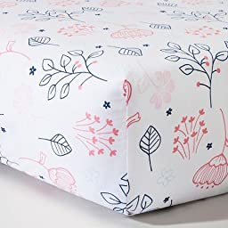 Woven Fitted Crib Sheet - Navy n\' Pink Flowers - CircoTM