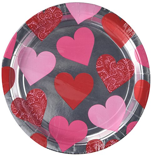 """Amscam Valentines Day Key to Your Heart Metallic Round Paper Plates (8 Per Pack), 9"""", Multicolor"""