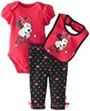 Disney Baby Baby-Girls Newborn Minnie Creeper, Pant, and Bib Layette