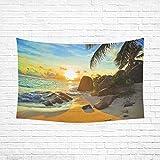 InterestPrint-Nature-Wall-Art-Home-Decor-Tropical-Beach-at-Sunset-Cotton-Linen-Tapestry-Wall-Hanging-Art-Sets-90-X-60-Inches