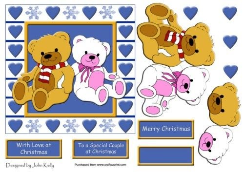 Teddys, con amore a Natale (Blu) - 6 x 6 in