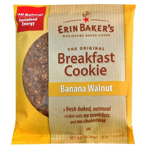 Erin Baker's Breakfast Cookies, Banana Walnut, 3-Ounce Individually Wrapped Cookies (Pack of 12)