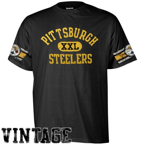 Reebok Pittsburgh Steelers Youth XXL Graphic Vintage T-Shirt - Black (Medium)