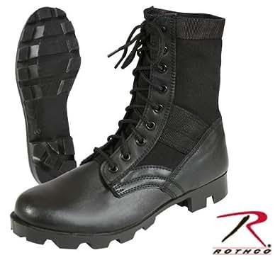Black Panama Sole Military Leather Jungle Boots 5081, Size 4 Regular